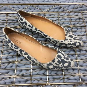 J. Crew Black Tan pointed canvas Flat shoes